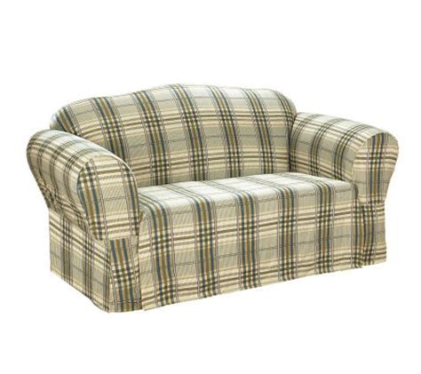 plaid sofa slipcovers sure fit bedford plaid box cushion sofa slipcover qvc com