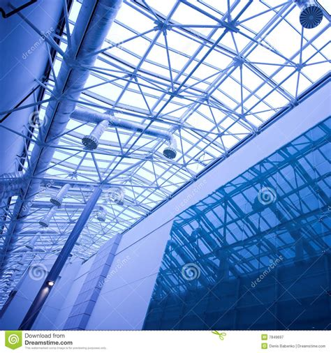 Glass In Ceiling by Blue Glass Ceiling In Office Royalty Free Stock