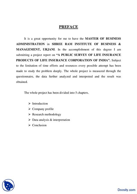 Preface For Project Report Of Mba by Preface Sle 3 Business And Writing Reports Handout