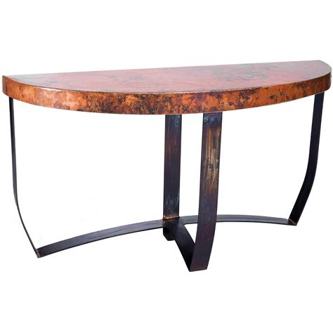 hammered console pictured here is the demi lune strap console with