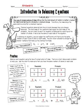 Introduction To Chemistry Worksheet Answer Key by Introduction To Balancing Chemical Equations Worksheet By