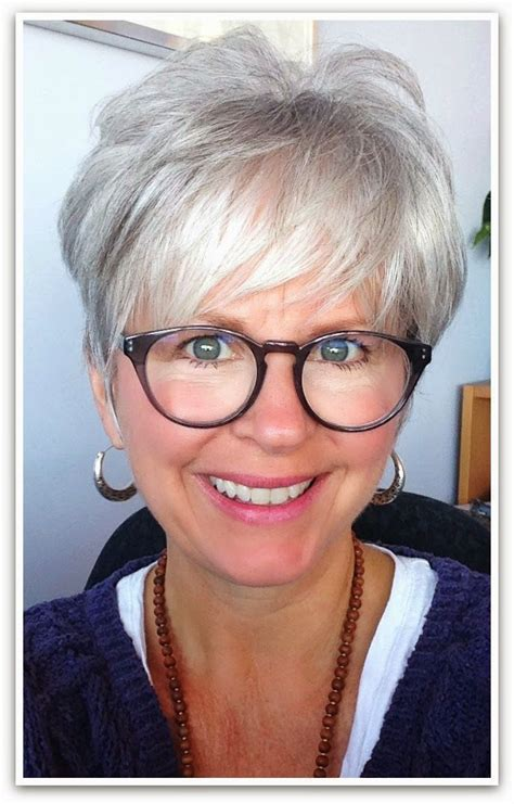 color and cut over 50 i love the look grey hair great cut great glasses