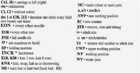 m knitting abbreviation marzipanknits machine knitting abbreviations