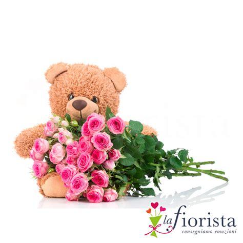 fiori peluche vendita mazzo di rosa e peluche consegna fiori a