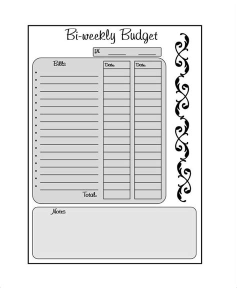 Biweekly Budget Template 6 Free Word Pdf Documents Download Free Premium Templates Monthly Budget Based On Biweekly Pay Template