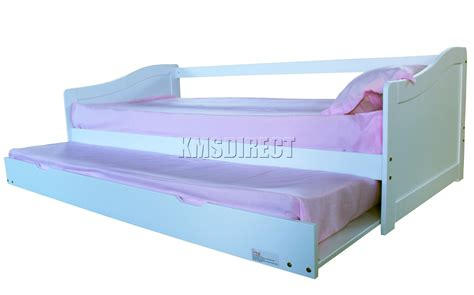Foxhunter White Single 3ft Day Bed With Trundle Guest Solid Wood Bed With Trundle