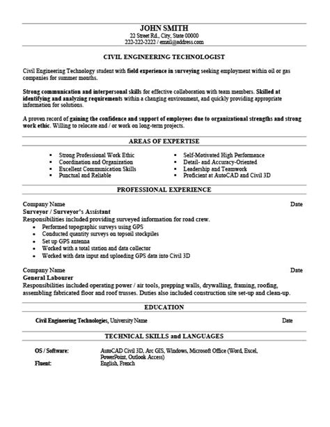 civil engineer technologist resume template premium resume sles exle