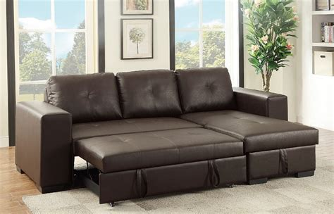 Sectional Pull Out Sofa Sectional Sofa W Pull Out Bed Storage Reversible Chaise Tufted Espresso Leather Ebay