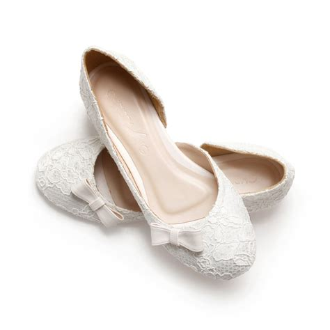 ivory lace white satin wedding 1 inch ballerinas ivory