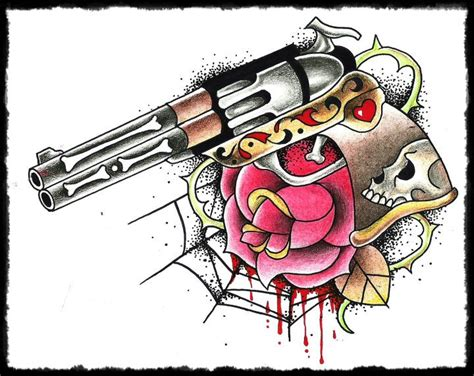 tattoo old school revolver old skull revolver by fabrrrious on deviantart
