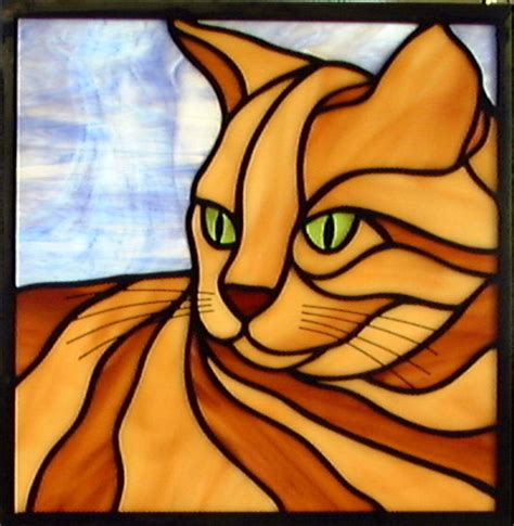stained glass cat quiet cat stained glass window a quot quickie quot panel done