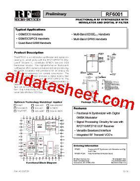 datasheet of rf diode rf6001 datasheet pdf rf micro devices