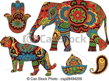 vector clipart of indian patterns for design elephant