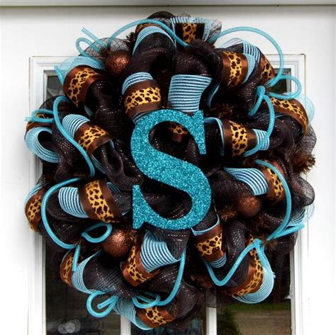 Door Wreaths With Initials by Personalized Mesh Wreath Initial Monogram By