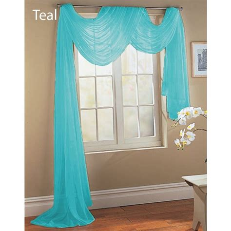 Aqua Blue Window Valance 1 Teal Aqua Turquoise Scarf Sheer Voile Window Treatment