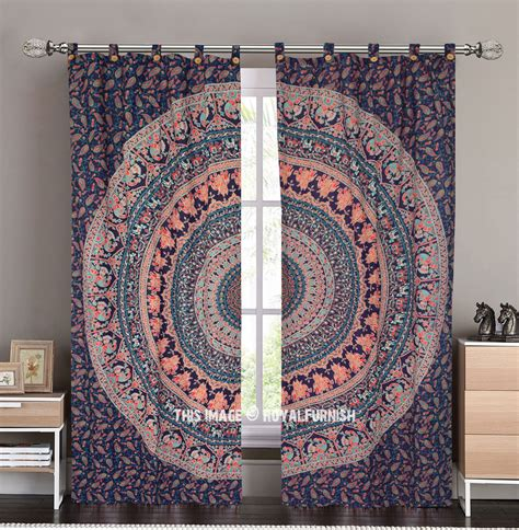 tapestry curtains sale blue king procession medallion circle tapestry curtain