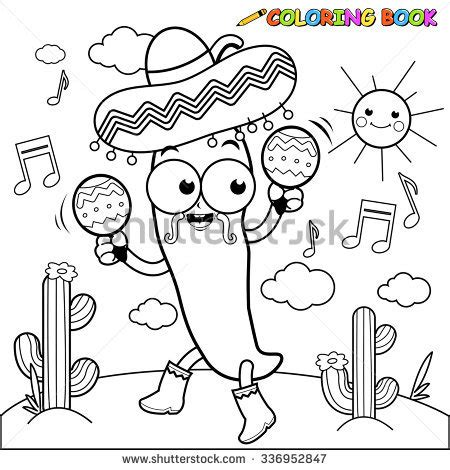 mariachi guitar coloring page mexican mariachi man wearing sombrero smiling stock vector
