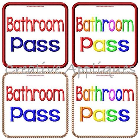 student bathroom passes bathroom school pass creative appliques