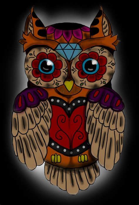sugar skull owl tattoo sugar skull owl ellenslillehjorne