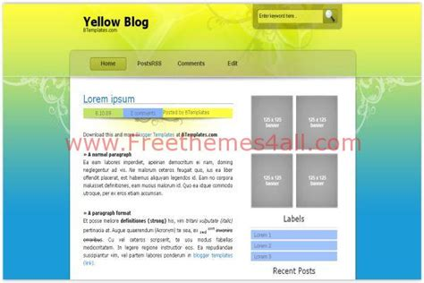 blogger themes yellow grunge yellow green blogger template freethemes4all