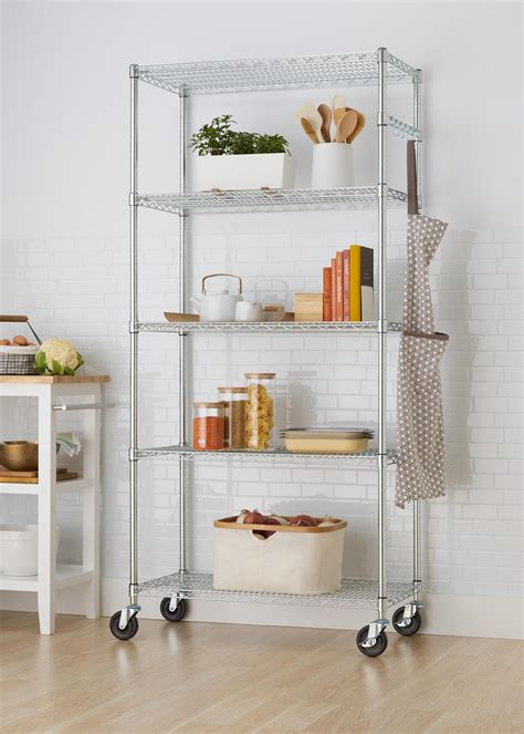 wire shelving racks ecostorage 5 tier nsf wire shelving rack with wheels 36 by 18 by 72 inch