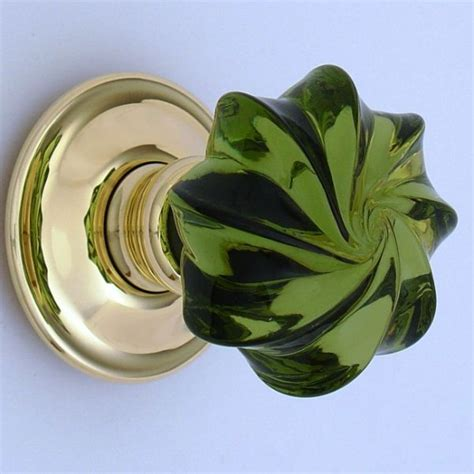 Green Glass Door Knobs by Glass Door Knob Green Whirl For The Home