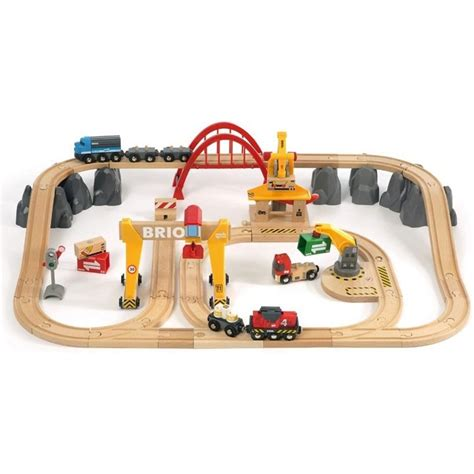 wooden train sets brio brio deluxe cargo railway 54 pc wooden train set