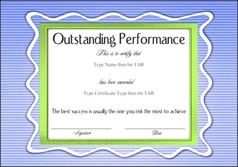 outstanding certificate template sle templates