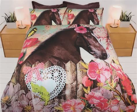 girls horse bedroom horse blooms quilt cover set horse bedding kids