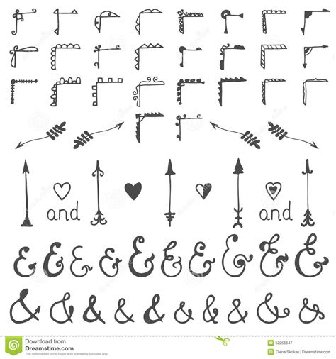 hand draw design elements vector collection of hand sketched elements calligraphic
