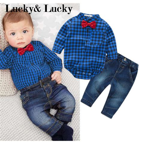 shirt for baby boy new blue plaid rompers shirts with bow baby boys