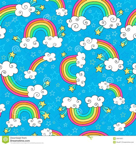 rainbow pattern doodle rainbow doodles seamless pattern vector royalty free stock