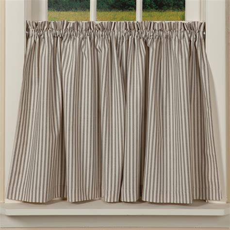 Country Valances Windows Country Ticking Curtain Tiers Striped Window Treatment