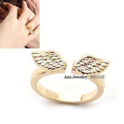 Cincin Korea Shape Decorated Simple 0aa7bb luxurious gold color wings alloy korean rings