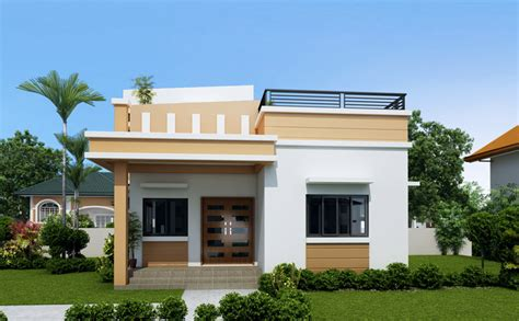 home design 1 story one storey house with roof deck