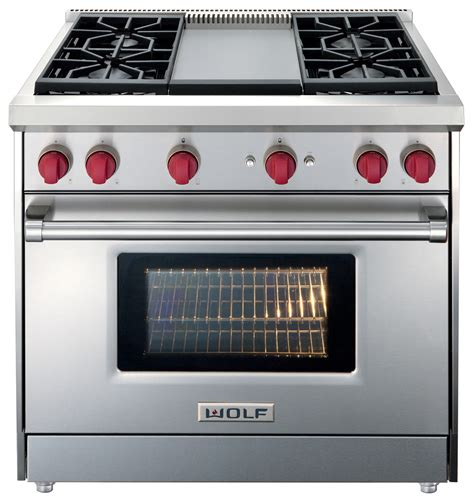 wolf 30 quot gas range wolf stainless steel 36 inch slide in gas range with convection and griddle gr364g trail