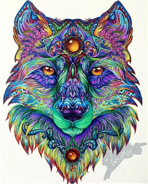 coloring pages for adults already colored instagram art featuring page on instagram mandala wolf