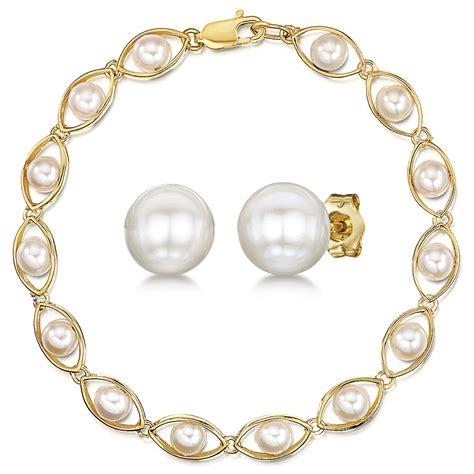 Stud Earring Set 9ct yellow gold white pearl bracelet stud earring set