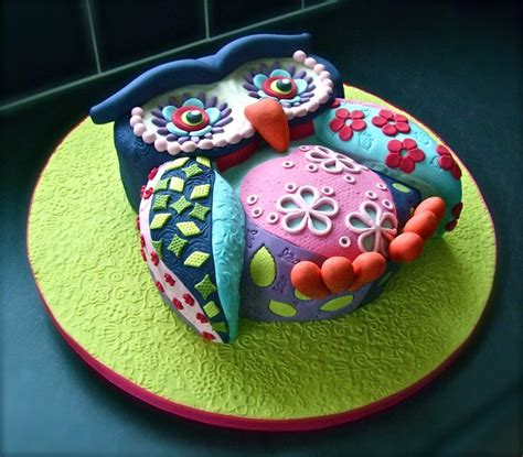 Patchwork Cake - a lovely version of my patchwork owl cake from my