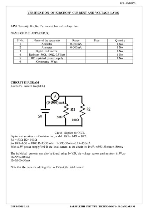 series resistors and kvl verification verification of kirchoff current and voltage laws