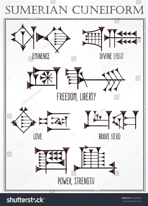 sumerian tattoo designs sumerian cuneiform words meanings set stock vector