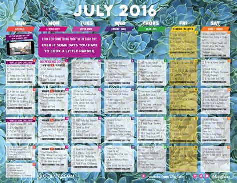 Where Is The Calendar July 2016 Workout Calendar