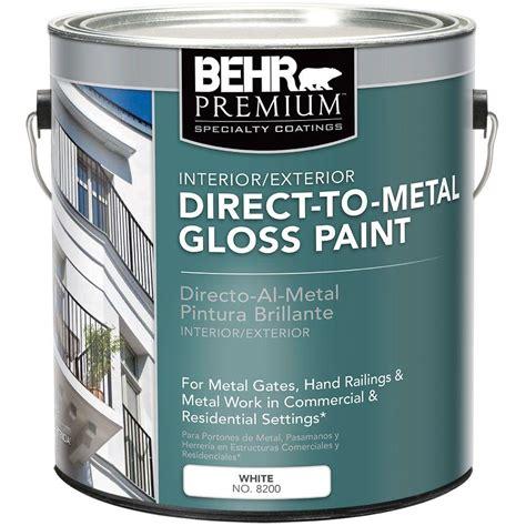 metal exterior paint behr premium 1 gal white gloss direct to metal interior