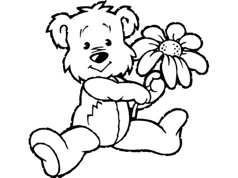 free coloring pages of teddy bear holding flower