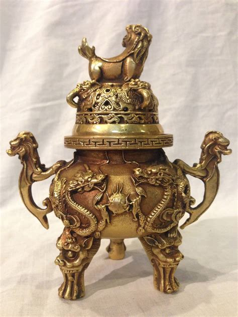 small chinese brass dragon incense burner  stdibs