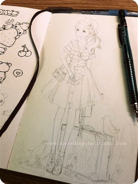 kawaii sketchbook anime anime ponytail striped shirt