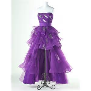 a line strapless organza beading lace up high low hem prom