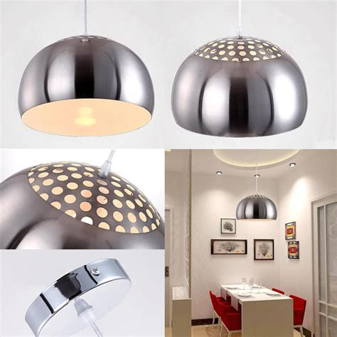 Kitchen Dome Light Modern Chrome Metal Dome Ceiling Pendant Light Fitting Lshades Kitchen Ebay