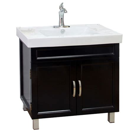 Black Bathroom Vanities With Tops Shop Bellaterra Home Black Integrated Single Sink Bathroom Vanity With Vitreous China Top