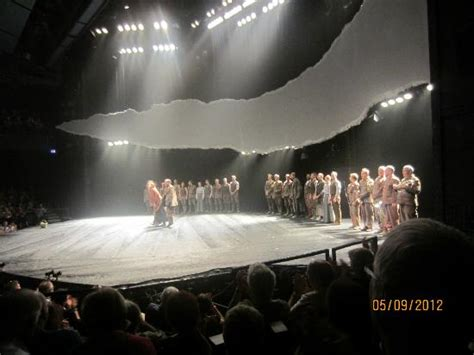 The War Stage the stage as actors take a bow at end of warhorse